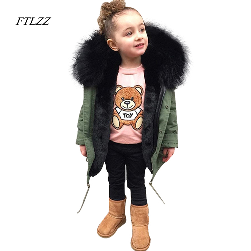 New Boys Girls Fur Coats Parkas Children Big Faux Fox Fur Coat Winter Thicken Warm Jackets Kid Fur Collar Hooded Outerwear winter fur hooded warm jackets for girls padded coats thicken pu leather patchwork fox faux fur collar jacket outerwear w57