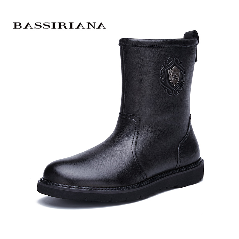 BASSIRIANA nouveau chaud en cuir véritable chaussures hommes neige cheville bottes d'hiver bout rond slip-on doux nature laine noir daim taille 39-45