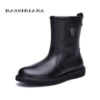 Bassiriana/Новые Теплые обувь из натуральной кожи мужские зимние ботильоны зимние с круглым носком без шнуровки на мягкой природа шерсть черная