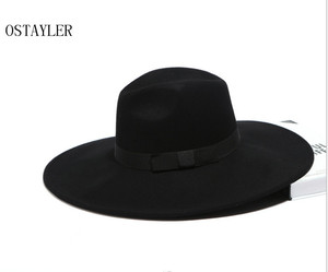Image 2 - Chapéu tipo fedora, chapéu super grande, aba longa, preto, cáqui, feminino, laço, jazz, lã australiana, casual, para inverno sombrero