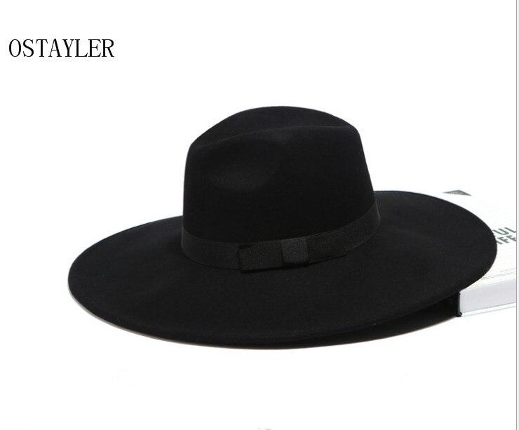91c922edb4f Super Big Stiff Brim Fedora Hat Black Khaki Women Bow Jazz Hat Australian  Wool Felt Casual ...