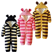 6M 18M Baby Clothing Baby Girl Rompers Coral Velvet Rompers Striped Cotton Thickening Hooded Knitted Baby