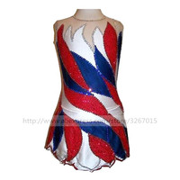 Figure Skating Dress Women's Girls' Ice Skating Dress Red and white blue and blue collocation Handmade, fine drill Match suit