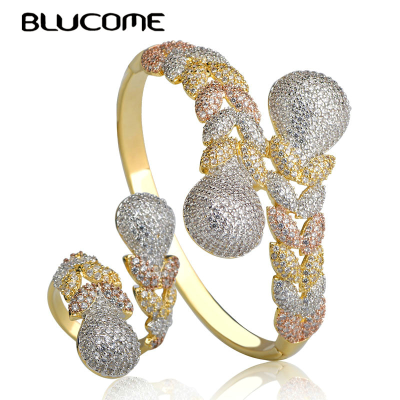 Blucome Luxury Three Tone Colors Braid Shape Bangle Ring Set Full Zircon Copper Jewelry For Bridal Wedding Girls Party OrnamentsBlucome Luxury Three Tone Colors Braid Shape Bangle Ring Set Full Zircon Copper Jewelry For Bridal Wedding Girls Party Ornaments