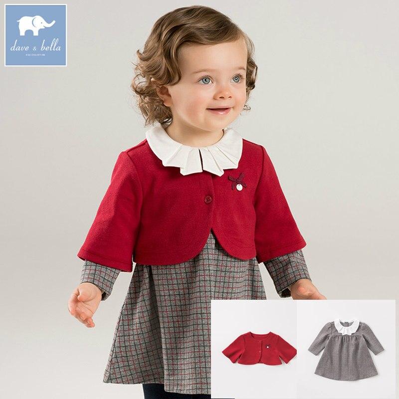 DB8524 デイブベラ秋ベビーコート + ドレス 2 ピースセット女の子ロリータチェック柄ドレス子供ファッション高品質の服  グループ上の ママ & キッズ からの ドレス の中 1