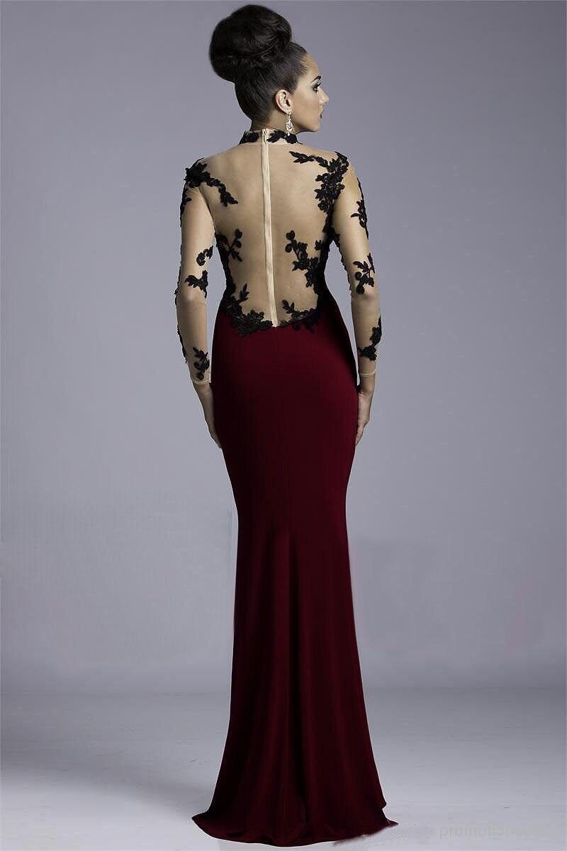 robe de soiree Evening dresses 2019 Sheer Lace High neck Long Sleeves Applique Side Slit Floor Length Sexy evening Dress in Evening Dresses from Weddings Events