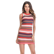 6da1ee091e Sexy Bodycon Dresses Knitted O-Neck Summer Party Vest Dress Package Hip  Tight Stripe Pencil