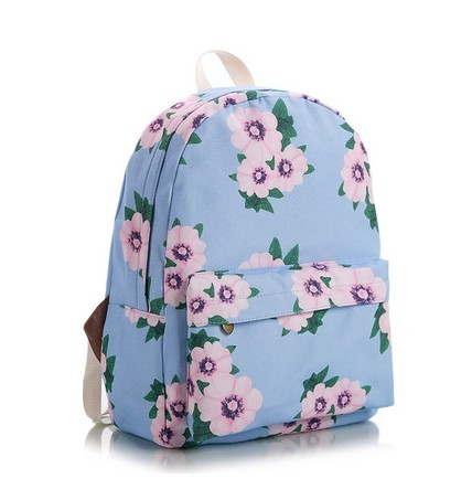 Japan and Korean style small blue tea flower printing backpacks  fashion leisure canvas bag  teens schoolbag women travel bag