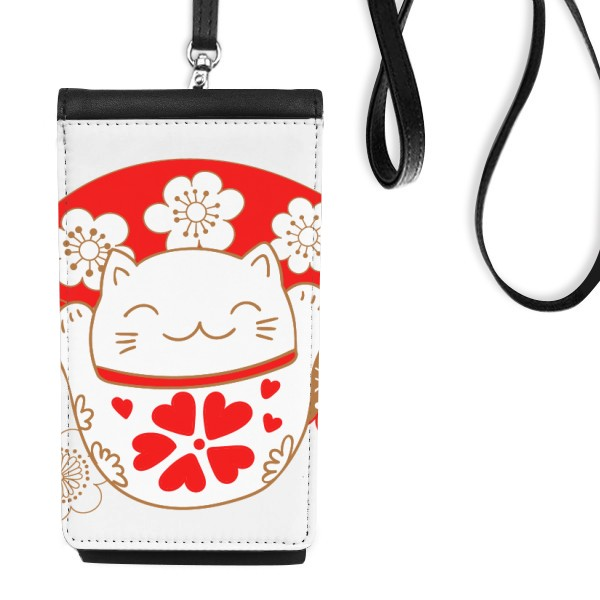 Cherry Blossoms Fat Lucky Fortune Cat Fan Japan Culture Leather Hanging Purse Wallet for iphone xs max case 78 plus luxury
