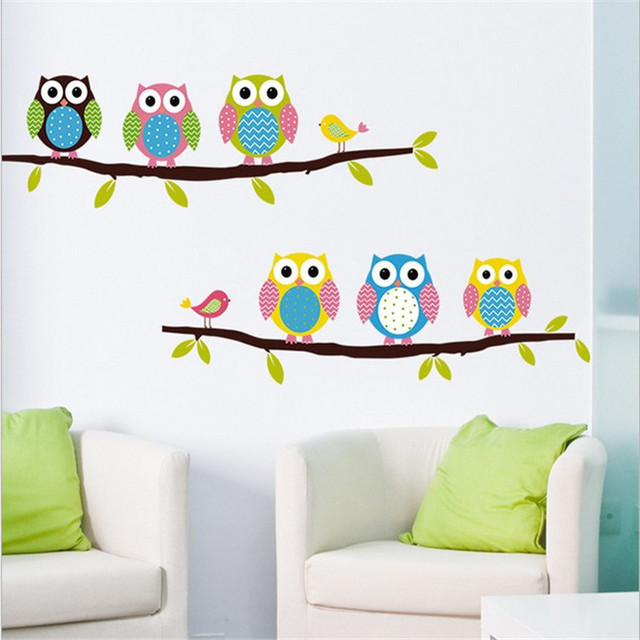 Aliexpresscom Buy Cartoon Lovely Owl tree House Wall Stickers