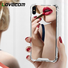 LOVECOM Lüks Ayna Telefonu iphone kılıfları XS XR XS Max X 6 6 S 7 8 Artı Yumuşak TPU + PC telefon kılıfı arka kapak Yansıtacak ...