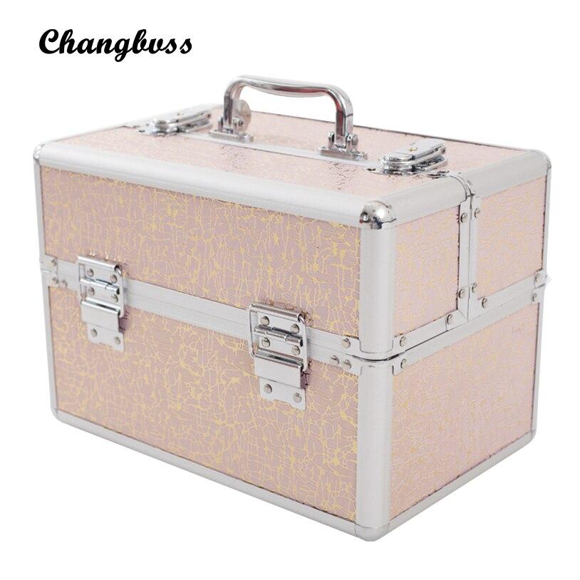 Multi-Grid Makeup Box PU Inside Fleece Cosmetic Skin Care Travel Organizer Professional Make Up Bag Portable maleta de maquiagem 5 grid multi function storage box transparent