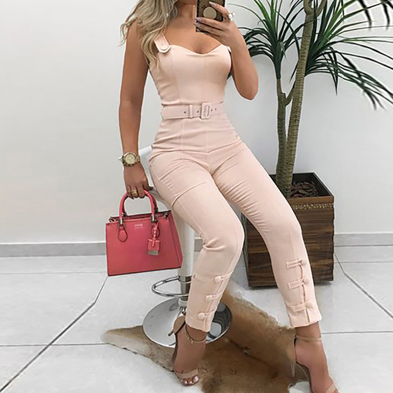 Button Leg Design Belted   Jumpsuit   for Women Elegant Leisure Overalls Skinny Slim Fit V-Neck Spaghetti Strap Long   Jumpsuit   Pants