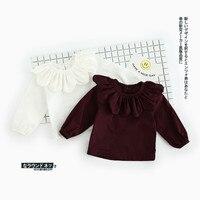 כותנה באיכות גבוהה מכירה 2017Hot אביב & סתיו תינוק בנים ובנות ילדי שרוולים מלא צבע טהור חולצת יפן/קוריאה סגנון