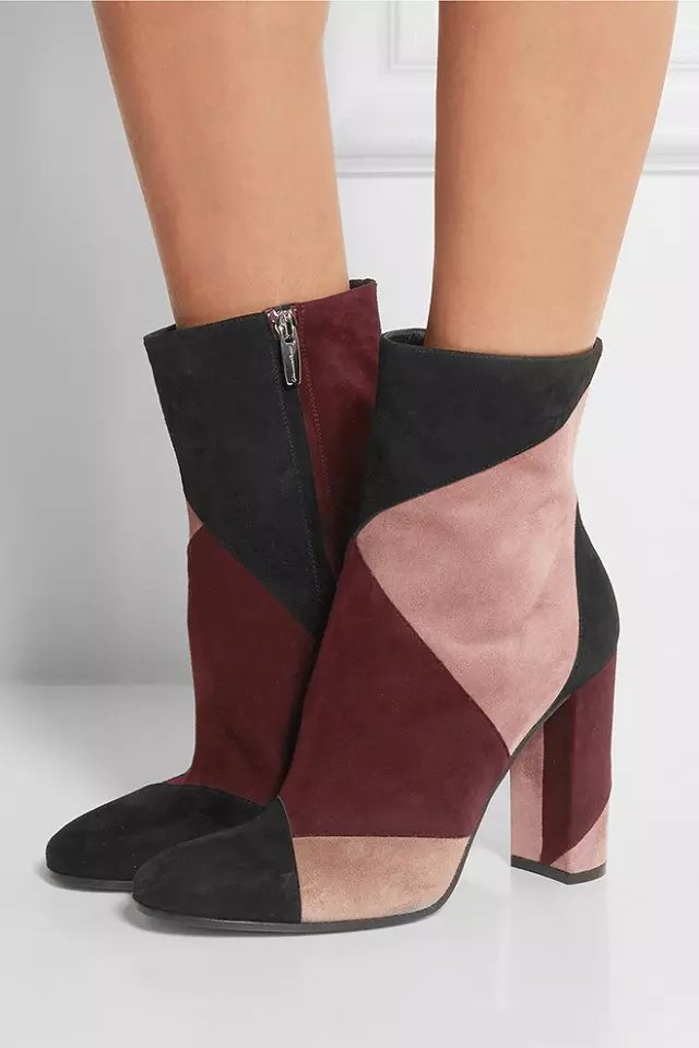 New designer hot selling thick high heel multi-color short boots patchwork elegant mid-calf dress boots dropship hot selling chic stylish black grey suede leather patchwork boots mid calf spike heels middle fringe boots side tassel boots