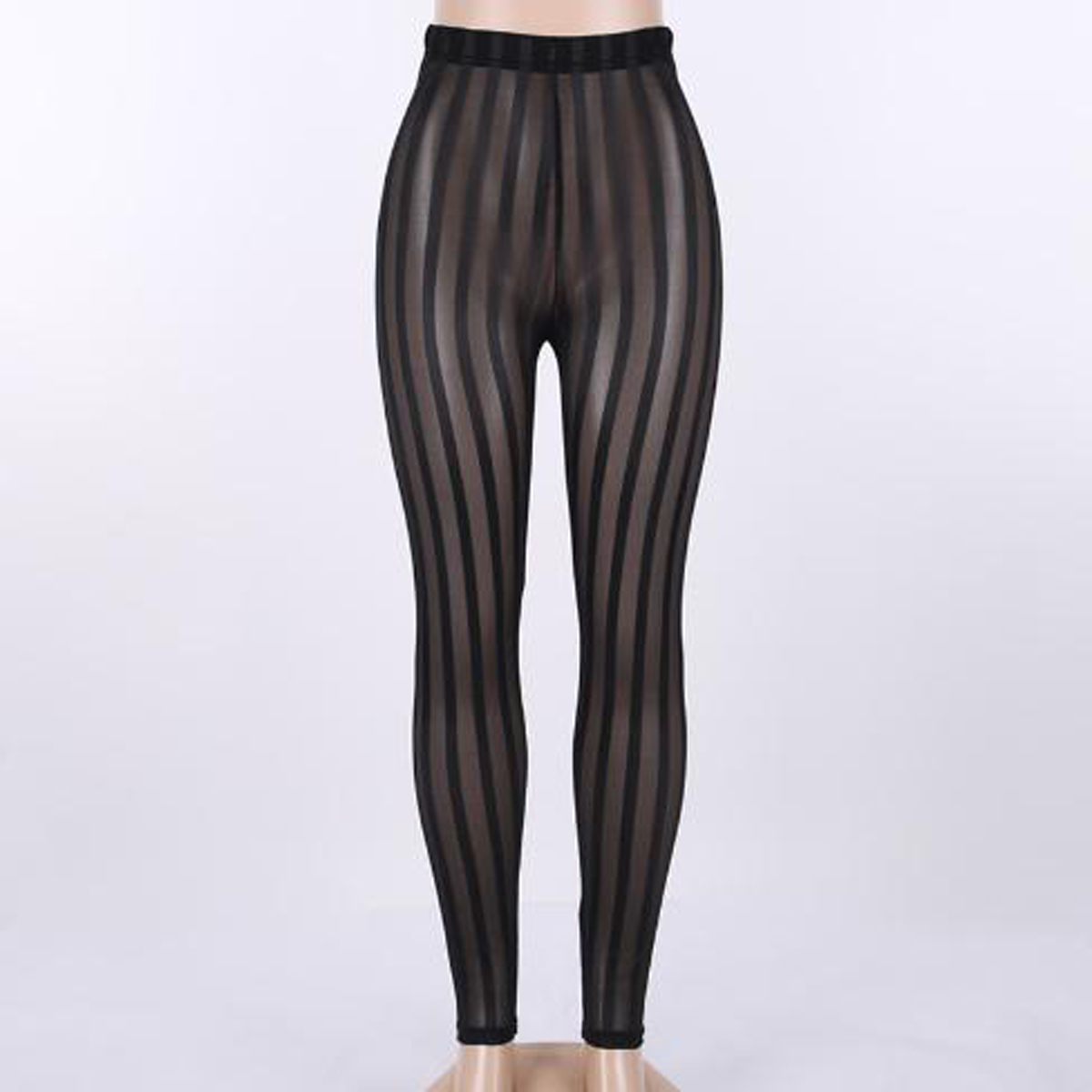 Fashion Ladies Women's Mesh Striped Sexy See Through Leggings Casual Perspective Summer Pants Trousers