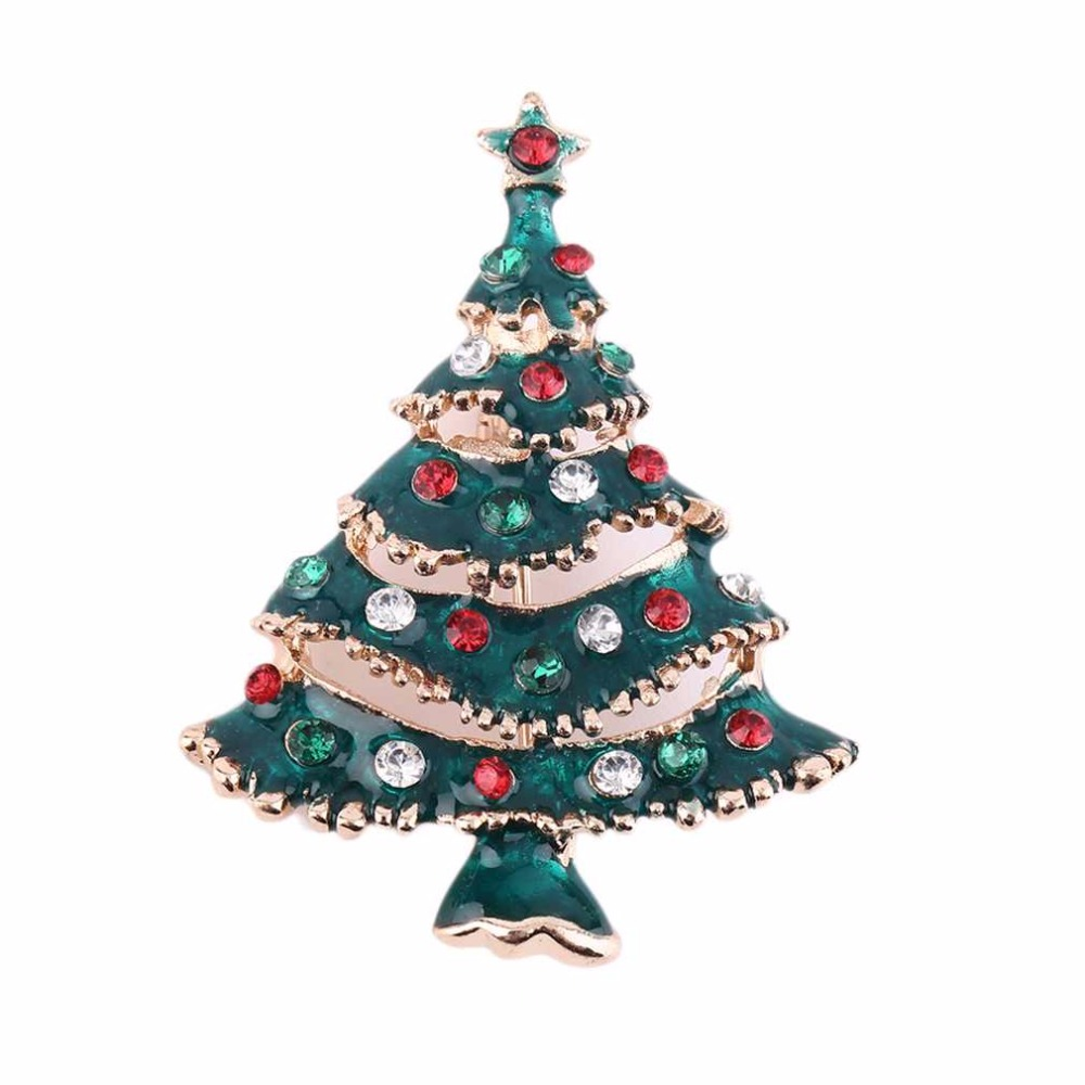 Metal christmas ornament tree - 1pc 2016 Rhinestone Green Tree With Gold Plated Christmas Brooches For Women Wedding Bouquets Collar Clip