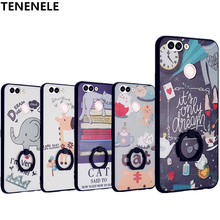 TENENELE Case For Huawei Nova 2 Case Fashion Silicone Cartoon 3D Relief Cover Cases Nova2 With Finger Ring Coque phone Case
