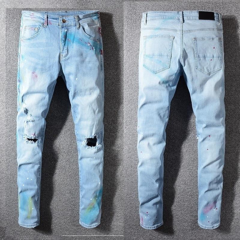 9c35fae800b2 Cheap Nueva Italia Estilo #584 # los hombres es Destressed hueco parches  aceite pintado pantalones