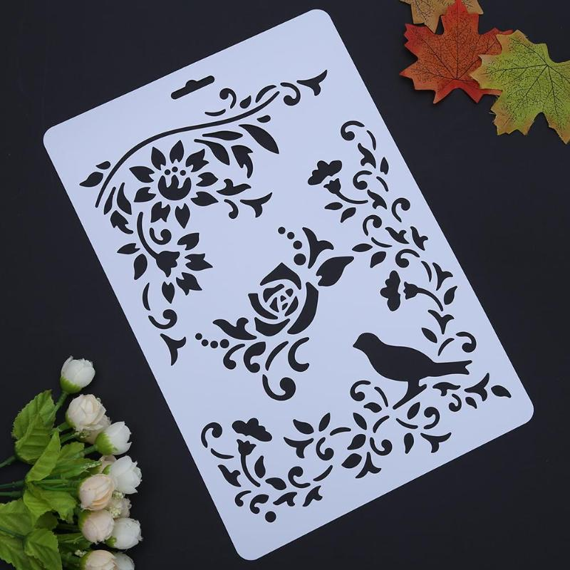 Flower Bird Hollow DIY Grape Stencils Templates Painting Scrapbooking Paper Cards Album Stencils Ruler School Pffice Supplies
