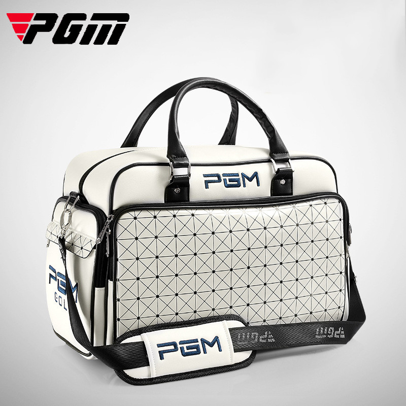 Pgm Women's Golf Clothing Bag Waterproof Pu Leather Large Capacity Golf Shoes Bag Lady Double Layer Outdoor Sport Handags D0059