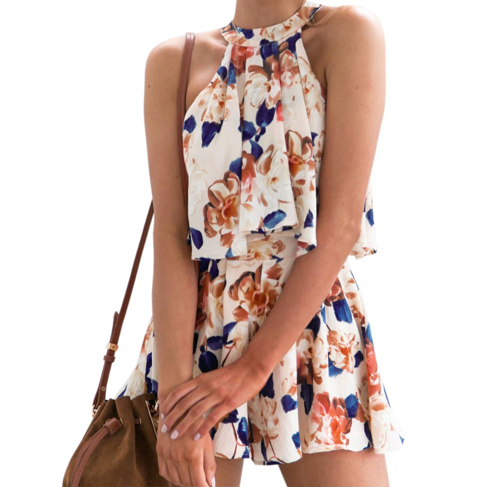 Boho 2 Pieces Fashion 2018 Summer Women Sexy Halter Sleeveless Blusas Floral Printed Female Suits 2 Pieces Tops &   Shorts   GV456
