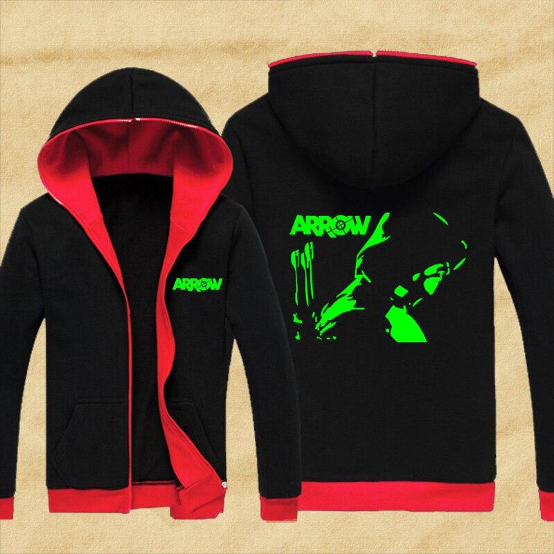 New Men and Women's Superhero Green Arrow Cosplay Sweatshirts Hoodies Costume Coat Oliver Queen hoodie Fluorescent Party Coat