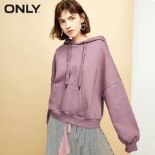 ONLY womens' autumn street simple wind weave bandwidth loose sweatshirt women plush fabric Foil printed letters|11839S560(China)