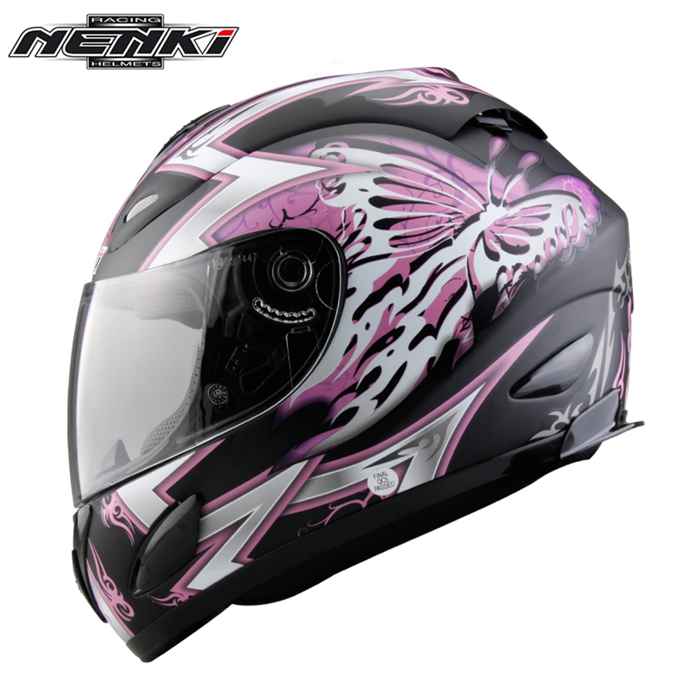 NENKI Motorcycle Helmet Butterfly Printing Full Face Moto Helmet Street Motorbike Riding Racing Helmet Clear Lens Shield 802