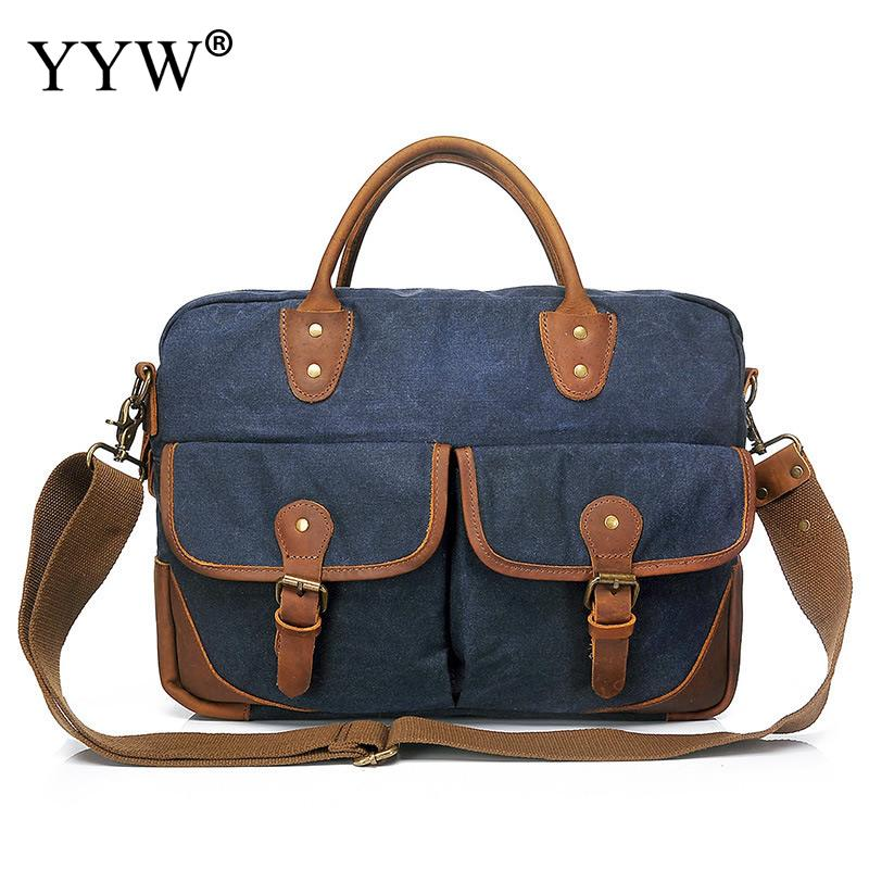 Men's Executive Briefcase Business Causal Male Tote Bag Blue Laptop Bags for Men Gray Canvas Handbag A Case for Documentsc osoce men bag sling shoulder bag business casual canvas korean brief bags street office bag green blue gray s1 s2