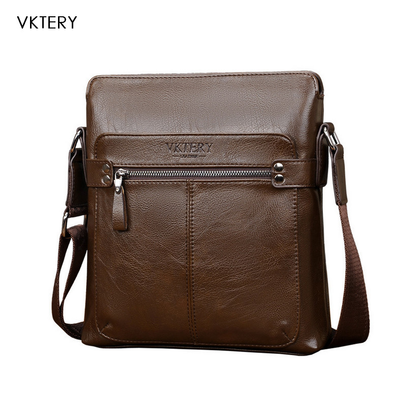 VKTERY Handbag Men Satchel PU Leather Male Messenger Crossbody Bag Business Solid Brown Tote Briefcase Sling Shoulder Bags 3021 uiyi original design men handbag pu leather satchel messenger crossbody bag small casual business shoulder sling bags 160108