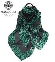 Europa Moda Leopardo Verde Stampa Sciarpe Autunno Inverno Caldo Cotone Dello Scialle Della Sciarpa delle Donne di Grande Formato Pashmina 2017