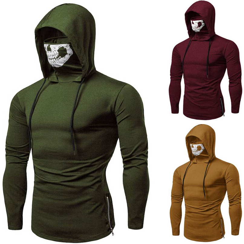 Cycling Sweatshirt Long-Sleeve Winter Fashion Skull Men Windproof -4nv22 Pullover Tops