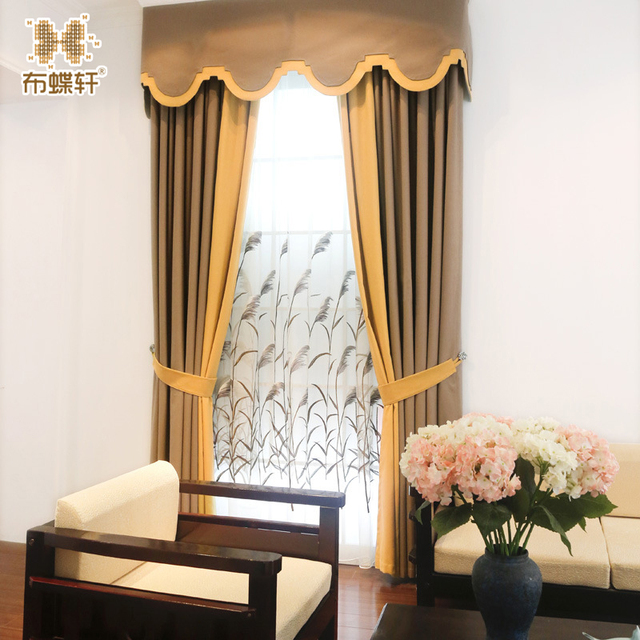 2018 New Modern Chinese Style White Embroidery Tulle Orange Yellow Grey Coffee Valance Curtains For Living