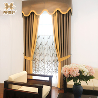 2018 New Modern Chinese Style White Embroidery Tulle Orange Yellow Grey Coffee Valance Curtains for Living Room Bedroom