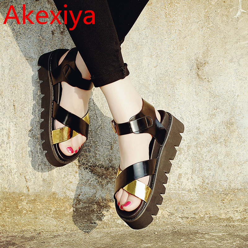 Akexiya Summer Style Gladiator Platform Sandals Casual Shoes Women Leather Thick High Heels Summer Women Sandals Wedges Shoes timetang 2017 leather gladiator sandals comfort creepers platform casual shoes woman summer style mother women shoes xwd5583