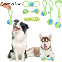 Training Cotton Dog Rope Toy Knot For Small Medium Large Dogs Puppy Chew Cleaning Teeth Toys Pet Playing Ball Tooth Ropes Toys pet dog puppy chew tug teeth cleaning knot toy tennis ball w rope