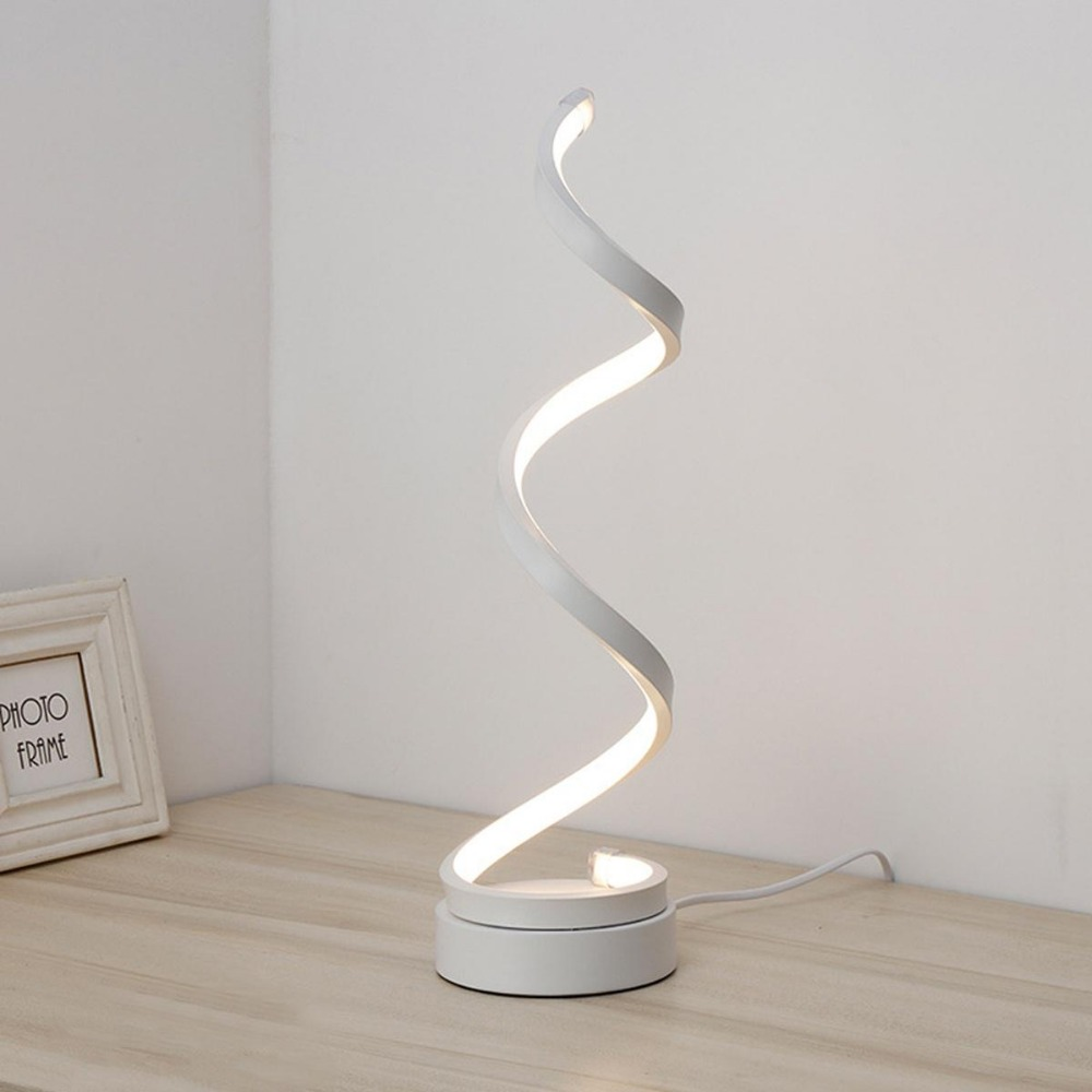 1pcs Lamp modern spiral LED table desk lamp 24W bedside decoration bedroom light light gold/white warm/white1pcs Lamp modern spiral LED table desk lamp 24W bedside decoration bedroom light light gold/white warm/white