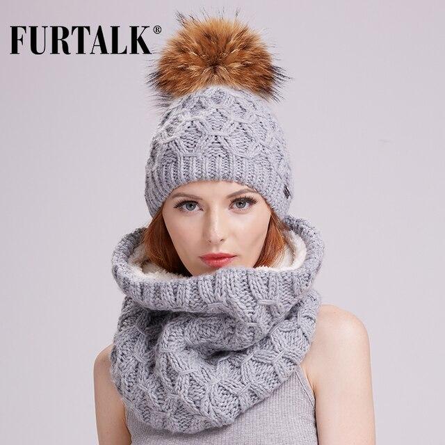FURTALK mulheres inverno cachecol conjunto chapéu de malha skullies gorros  de lã verdadeira pele pom pom 0e1db960db4
