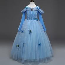 Girl Cinderella Dress Up Cosplay Costume Child Long Sleeve Blue Christmas Birthday Princess