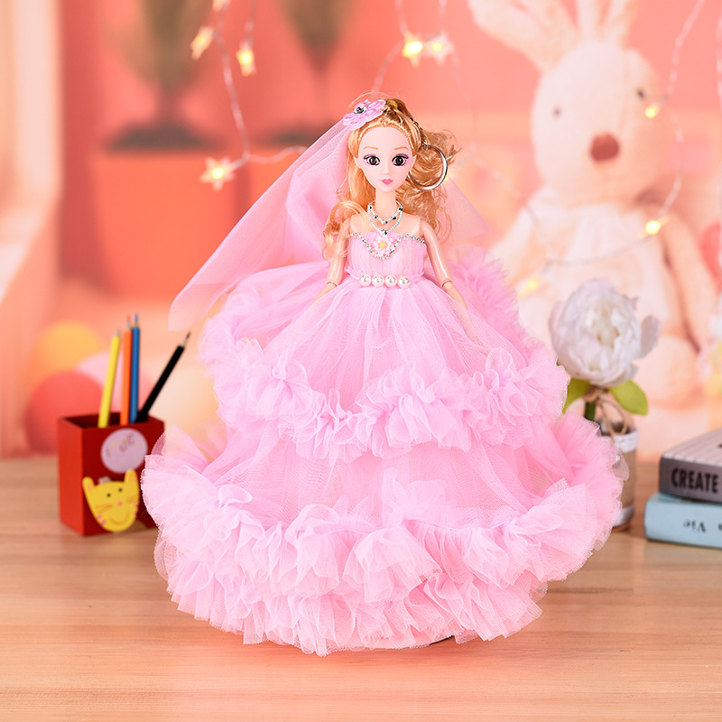 3D Eyes Dolls Three-layer Skirt Princess Wedding Dress Purple Red Blue Doll Toys for Children Girls dolls set Baby Toy 35CM 1pc best girl toys 2017