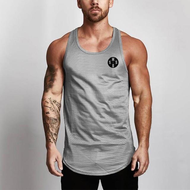 Het Beste Sexy Mannen Ademende Mesh Vest Bodybuilding Fitness Training Mesh Slanke Mouwloze Vest T-shirt