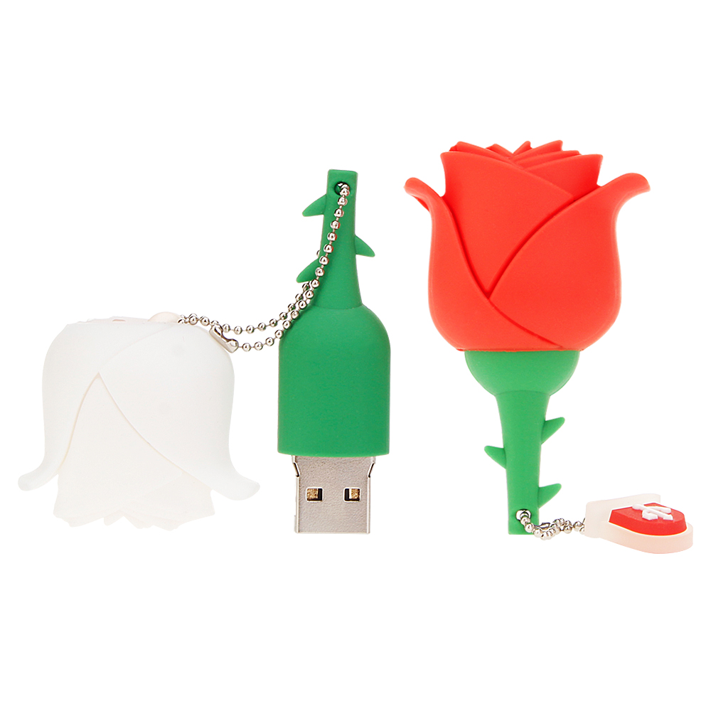 Image 2 - Romantic red rose USB 2.0 Flash Drive 64GB 32GB 16GB 8GB 4GB pen drive pendrive cartoon flower Memory Stick u disk Couple gift-in USB Flash Drives from Computer & Office