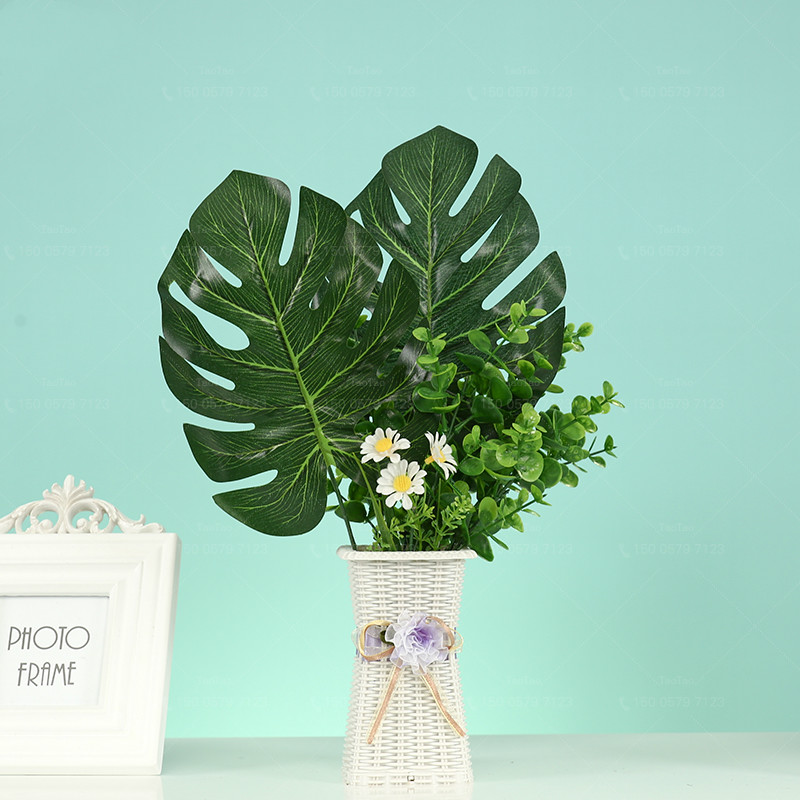New 1PC Artificial Tropical Palm Leaves Green Monstera Leaves for Home Kitchen Party Decorations Handcrafts wedding DIY supplies