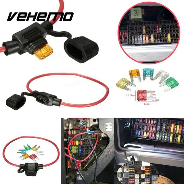 Vehemo Car Blade Fuse Holder 12V Mini Water-resistant Waterproof Cover Inline Blade Holder Auto Fuse For 5A 10A 15A 25A