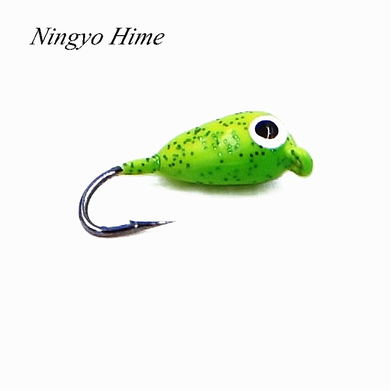 Ningyo Hime 6Pcs Banana Winter Ice Fishing Lure 1.8cm 2.3g Mini Metal Lead Hook Bait Attractive 6color Metal Bait Fishing Hook dunlop sp winter ice 02 205 65 r15 94t