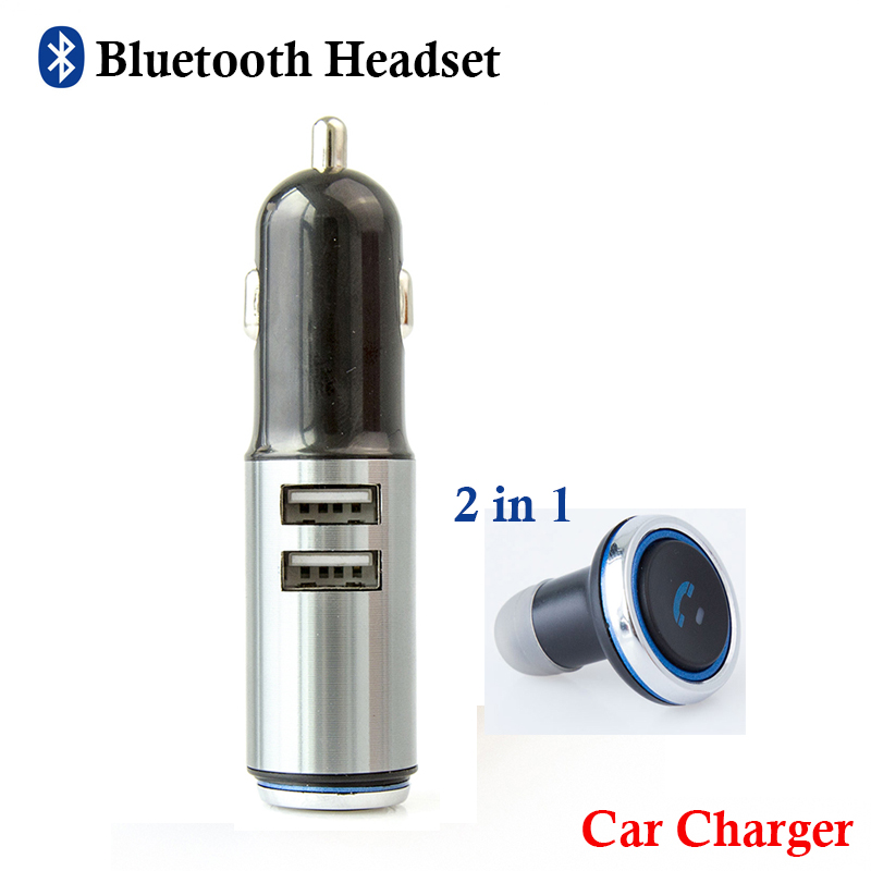 Original Portable Bluetooth Earphone Wireless Headphone Car Charger 2 in 1 mini Bluetooth V4.0 Headset and USB Car Phone Charger 2016 new 2 in1 mini portable bluetooth wireless sport headphone usb car charger dock car in ear earphone for iphone 7 6s android
