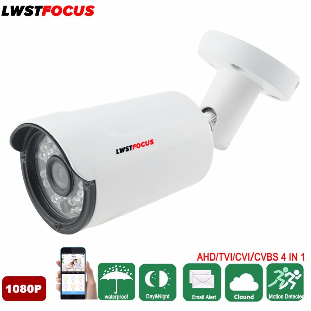 LWSTFOCUS Surveillance Camera Bullet AHD Camera 1080P 2MP Outdoor Waterproof Security Camera Night Vision Metal Case CCTV Camera