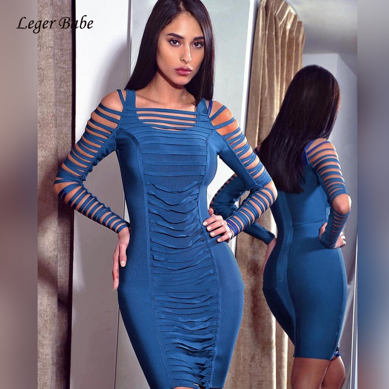 Leger Babe HL High Quality New Design Sexy Hollow Out Striped Long Sleeve Celecrity Club Party Dress Women Bandage Dresses Blue