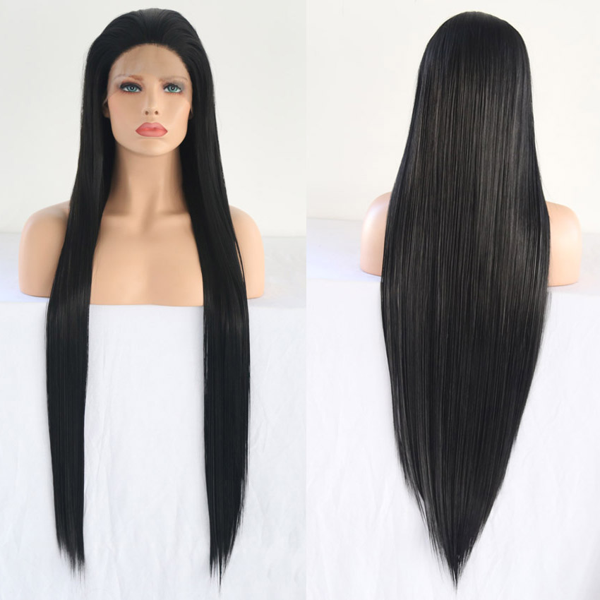 RONGDUOYI Long Black High Temperature Fiber Hair Synthetic Wigs for Women 30inch Silky Straight Lace Front Wig with Free Part(China)